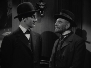 "Sherlock Holmes & Professor Moriarty, from ""The Adventures of Sherlock Holmes,"" 1939."
