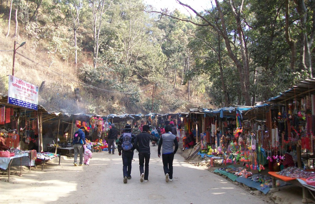 Young people leaving the Dakchankali Temple.