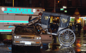 January 2006 accident killed carriage horse Spotty and left the driver in an induced coma. (Coalition to Ban Horse-Drawn Carriages photo)