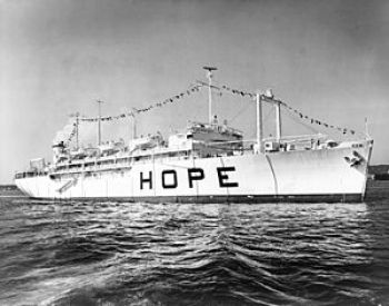 The S.S. Hope, a hospital ship operated by Project Hope, 1960-1974.