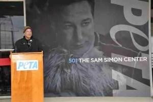 Sam Simon at the newly renamed PETA headquarters.  (PETA photo)