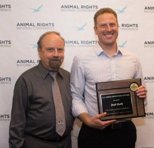 FARM founder Alex Hershaft welcomed vegan food activist and investor Josh Balk into the Animal Rights Hall of Fame at the AR-2015 conference in Alexandria, Virginia.