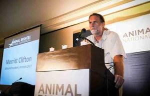 ANIMALS 24-7 editor Merritt Clifton addresses AR-2014 conference opening plenary.  (FARM photo)