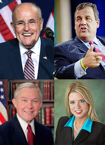 Clockwise: U.S. Attorney General candidates Rudy Giuliani, Chris Christi, Pam Bondi, and Jeff Sessions.