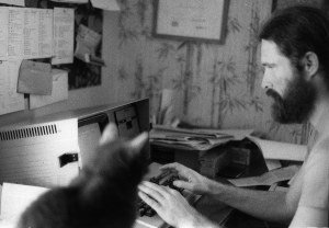 At work in Quebec, 1984, Corky in foreground.