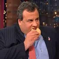 New Jersey Governor Chris Christie eating a donut.