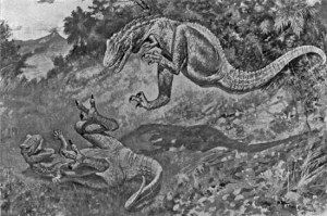 Royal Dixon's sketch of dinosaurs at play.