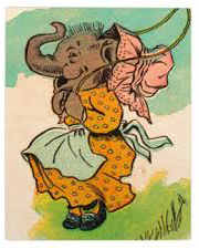 """Ask your mother for 50¢ to see the elephant jump the fence"" is the start of an old children's jump rope rhyme, probably widely known when this book illustration was drawn circa 1930––but we don't know the source of the illustration."