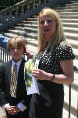 Frankie Flora and his mother visited the New York state legislature in 2012, in support of a bill which would have helped dog attack victims to recover damages. ( Photo by Anthony R. Mancini.)