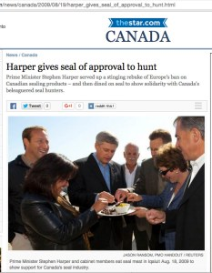 Canadian prime minister Stephen Harper eats seal meat at 2009 political appearance.