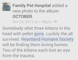 The Heartland Humane Society has experience with the consequences of recreational shooting.