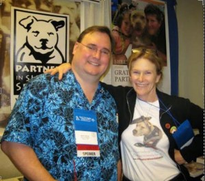 Montgomery County dog warden Mark Kumpf with pit bull advocate Jane Berkey.