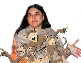 Maneka Gandhi releases a barrel of monkeys. (Cartoon collage by Merritt Clifton)