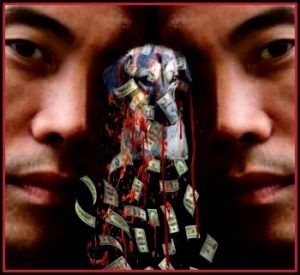Marc Ching collage with money, blood and dog.
