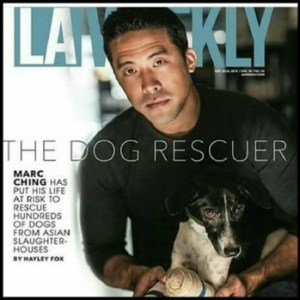 Marc Ching with an injured dog on a magazine