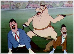 Stan Laurel, Oliver Hardy, & horse. (From Hanna-Barbera animation)