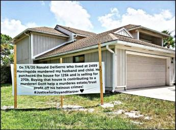 Monique Hansman's home with sign