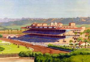 """New Del Mar Race Track,"" watercolor by Mary Helmreich."