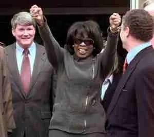 Oprah Winfrey celebrates 1998 courtroom victory. (Howard Lyman photo)