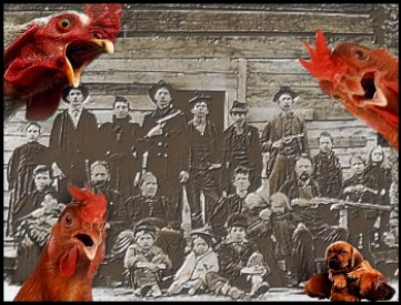 Hatfield clan with roosters |