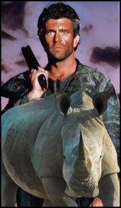 Mel Gibson with African rhino