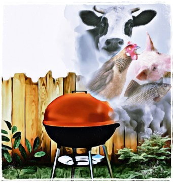 Cow, chicken, pig with smoke on a BBQ