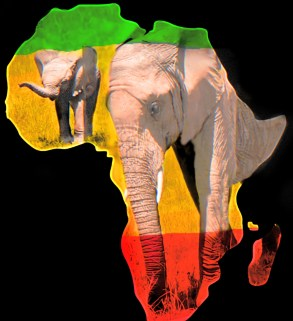 Continent of Africa with African flag and elephants