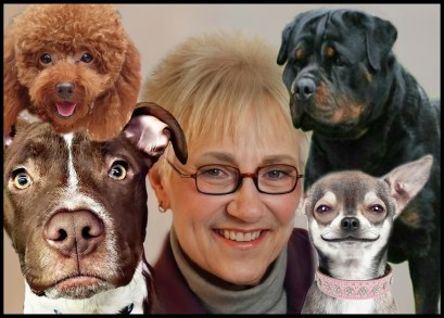 Brenda Barnette with dogs from LA city Animal Services