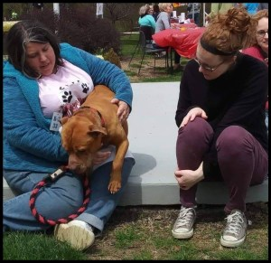 Melissa Cummings, pit bull, and Angela Summers at Indianapolis Animal Care Services