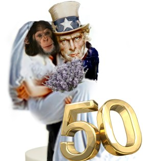 Uncle Sam & chimp in wedding dress on 50th anniversary, by Beth Clifton | ANIMALS 24-7