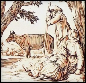 Peasants with cow