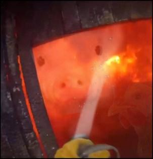 Fire hose on a barn fire