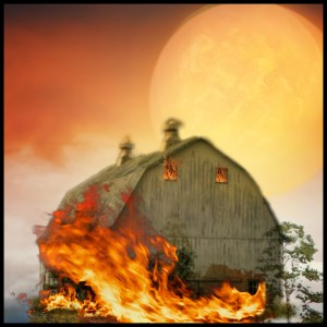 Old barn on fire.