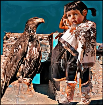 Hopi child with young tethered bald eagle