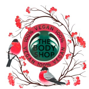 The Body Shop logo with birds and berries