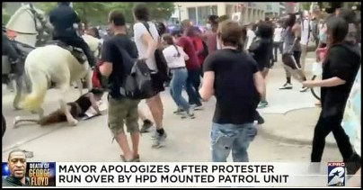 Horse tramples protester