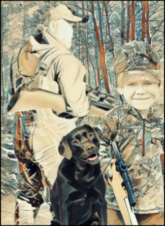 Hunter, son and dog in woods