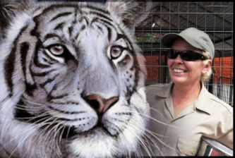 Lisa Lopez with white tiger
