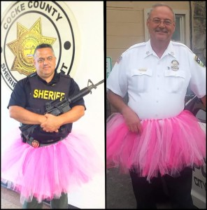 Cocke County Sheriff Armando Fontes (left) and Newport City Police chief Maurice Shults (right) appear to have been more conspicuous in tutus than on the job investigating the Tony Ahrens and Amber Miller deaths. (Facebook photos)
