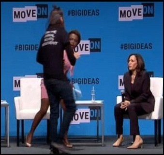 Kamala Harris has mic taken by animal rights activist from Direct Action Everywhere