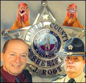 Steve Hindi and Sheriff John Root with Laurel County badge