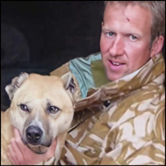 Nowzad Rrescue founder Penny Farthing and friend in Afghanistan