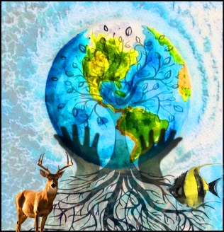 Earth with tree, fish and deer