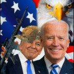 Trump and Biden with flag and eagle