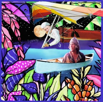 Steve Hindi in a hang glider and Jim Phillips in a canoe