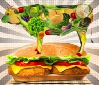 Meatless burger & cow
