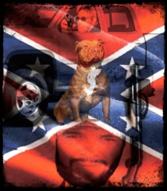 Rebel flag with two men and pit bull