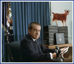 Richard Nixon & goat. (Beth Clifton collage)