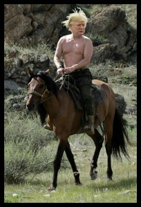 Parody image of Donald Trump echoes actual photo of Russian president Michel Putin on horseback. (From donaldtrump.horse)