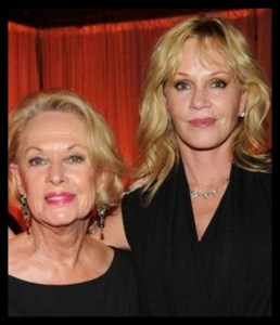 Tippi Hedren (left) & daughter Melanie Griffith (right).